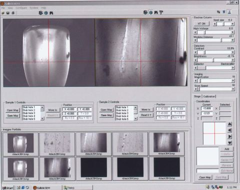 BallisticSEM software showing two main reference images and image portfolio.