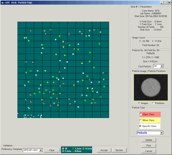 Stub particle map to show all detected particles per sample.